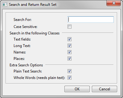 Search and Return Result Set